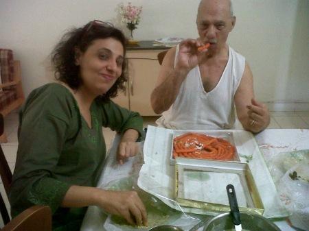 My dad relishing Jalebi