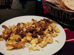 Jerk Beef with scrambled eggs