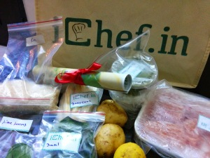 The ichef.in kit complete with a recipe and ingredients